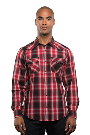 mens fashion hair style s sleeve western plaid shirt style 8206 8206 | 8206 red
